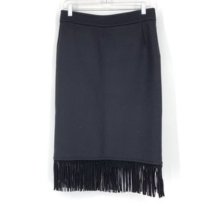 Max Mara 10 Midi Fringe Pencil Skirt Wool Angora